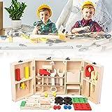 dailylime Caja de herramientas caja de herramientas de madera para niños destornillador herramienta de juego bloques de construcción de madera juguetes accesorios conjunto artesanal para up-to-date