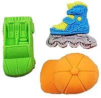 DCMA 文房具 トイ デザイン 消しゴム スケート 靴 車 キャップ 防止 リアル 3個 お楽しみ色