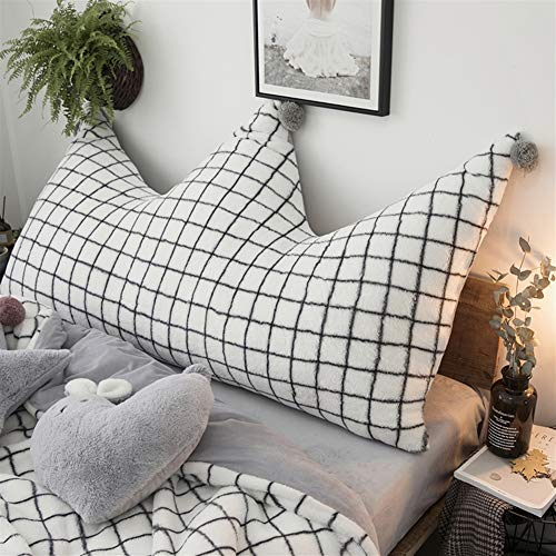 Liveinu Krone Fleece Kopfteil Kissen mit Pompons Bett Rückenkissen Rückenlehne Palettensofa Kissen Für Bett Sofa Couch Waschbar Dekorationskissen Gingham Kariert Weiß 80x180cm