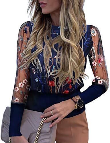 CHICME Damen Langarm Bluse mit Blumenstickerei Rundhals Sheer Mesh Patchwork Tops Casual Hemd Oberteil Shirt Blau S
