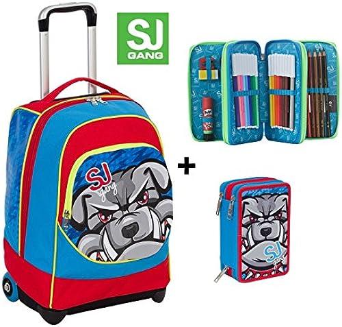 Trolley Big SJ Smilies Boy Tiere Rot Blau + Federm chen 3 i rschluss 33  Verwendung Rucksack Schultergurte A integrierbar Schule und Reise