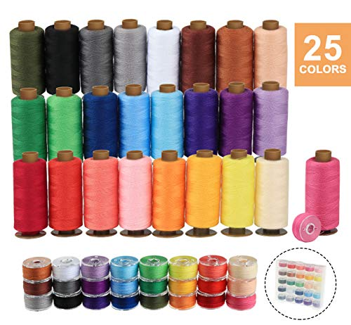 ilauke 50Pcs Bobbins Sewing Threads Kit, 400 Yards per Polyester Thread Spools, Prewound Bobbin with Case for Brother Singer Janome Machine, 25 Colors