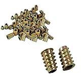 Wohlstand 100 Pezzi Dadi esagonali in acciaio al carbonio zincato,M4/ M5/ M6/ M8 Mobili in Lega di Zinco Presa Esagonale Inserti,a Vite Inserti Filettati Kit per mobili in legno