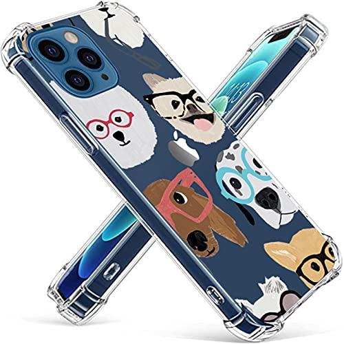 KILIKALA Dogs Clear Phone Case Compatible with iPhone 12 and 12 Pro Case, Cute Dog Design TPU [Shock Absorbing] TPU Bumper with Protective Soft Case Cover for Girl