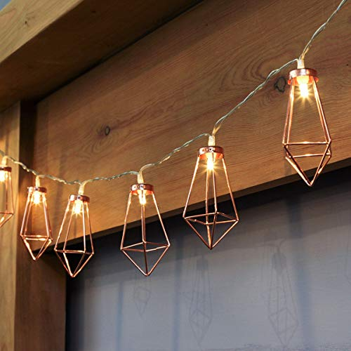 10 LED 5ft Diamond String Lights Battery Operated, Rose Gold Geometric Led Fairy Lights, Warm White, for Party Birthday Wedding Bedroom Christmas Decoration, Metal Led Lantern String Lights