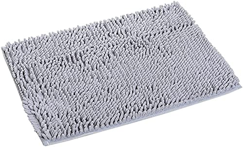 YIQI Alfombra de baño de Felpa de Microfibra de Chenilla, Suave y acogedora, Agua súper Absorbente, Antideslizante, Gruesa para Dormitorio de baño (60x40 cm, Gris)