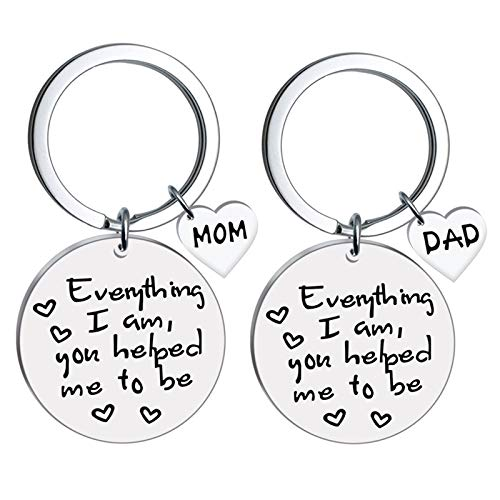 Dreamdge Couple Keyrings Stainless Steel Pendant Key Ring Keychain, Engraved'Everything I Am, You Helped Mu to Be'