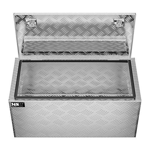 MSW Alubox abschließbar Werkzeugkasten ATB-910 Deichselbox 119 L Transportbox Metallbox mit Deckel Riffelblech 91 x 44,5 x 43 cm Aluminiumbox - 3