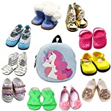SOTOGO 10 Pairs of 18 Inch Doll Shoes and Doll Backpack Bag Fits for American 18 Inch Girl Doll Include Boots Sandals Leather Shoes