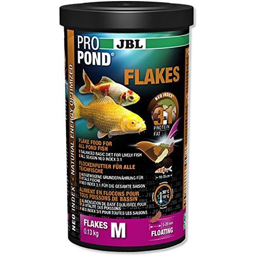 JBL Aliments pour tous Poissons de Bassin, Flocons Flottants, PROPOND FLAKES, Taille M, 130g