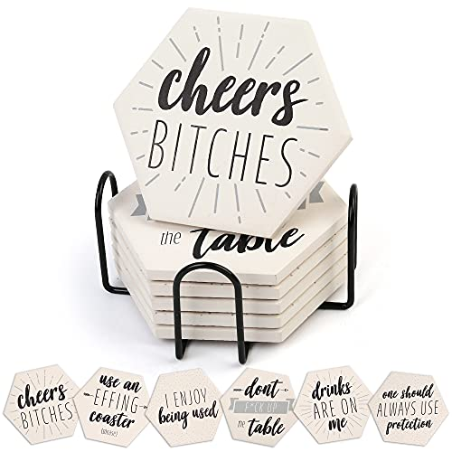 LotFancy 6PCS Funny Coasters for Drinks with Holder, Absorbent Ceramic Coasters with Cork Base,...