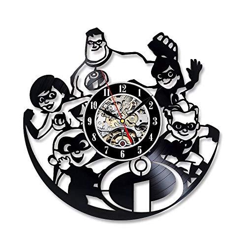 qweqweq Historia Reloj de Pared diseño Moderno Lindo Reloj de Pared de Dibujos Animados Disco de Vinilo Reloj de Pared decoración del hogar 1