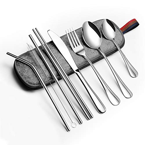 EvaCrocK Travel Utensils | Stainless Steel Flatware set, 9-Piece Portable Utensils including Knife Fork Spoons Straws Chopsticks Cleaning Brush, Travel Silverware set with Case [9 Piece Silver]