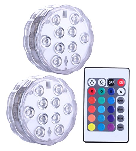 Qoolife Submersible LED Lights Remote Control Battery Powered, RGB Multi Color Changing Waterproof Light for Vase Base, Floral, Aquarium, Pond, Wedding, Halloween, Party, Christmas, 2-Pack