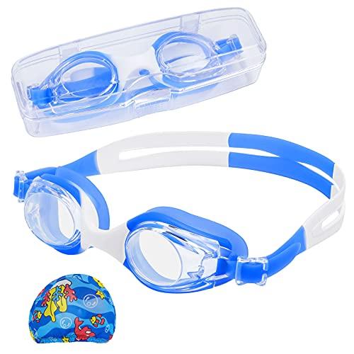 Doiido Occhialini da Nuoto per Bambini con Alloggiamento Occhialini da Nuoto Con Cuffia Occhialini per Bambini Impermeabili Antiappannamento Protezione UV Cinturino Regolabile per Bambini Adolescenti