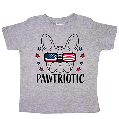 inktastic Pawtriotic with French Bulldog Toddler T-Shirt 2T Heather Grey 35e72