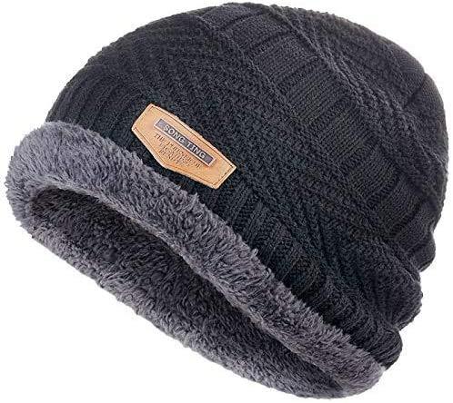 miwaimao Bonnet tricoté hiver 2020 tendance en tricot noir chapeau d'automne épais chaud chapeau tête de mort bonnet doux bonnet en coton bonnet bonnet bonnet