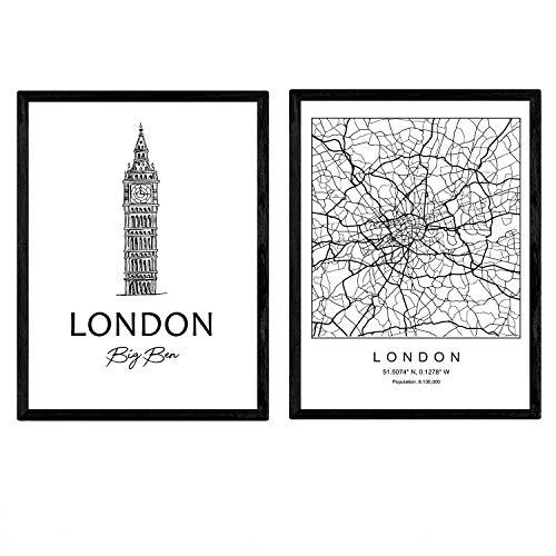 Nacnic Pack Poster London - Big Ben. Blätter mit Denkmälern von Städten. A3 Größe