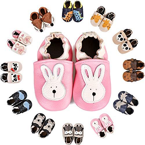 BAOLESEM Krabbelschuhe Leder Lauflernschuhe Jungen Hausschuhe Mädchen Weicher Kleinkind Babyschuhe mit Rutschfesten Wildledersohlen für Baby,Rosa Kaninchen,12-18 Monate