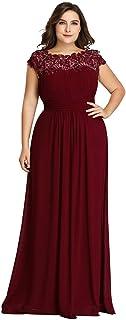 Vestidos de Fiesta Cuello Redondo Encaje Gasa Corte Imperio A-línea Talla Grande para Mujer 09993-EU2