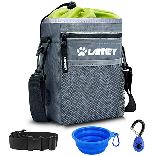 Dog Treat Pouch Pet Training Bag for Small to Large Dogs, Treat Tote Carry Kibble Snacks Toys for Training Reward Walking, Metal Clip, Waist belt, Shoulder Strap, Poop Bag Dispenser, Clicker, Bowl