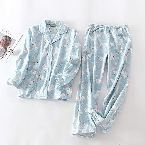 Pijamas de las mujeres S 100% algodón 2 piezas pijama de manga larga Pantalones Ropa de dormir Pijama Mujer de dibujos animados Imprimir Inicio desgaste ZZBiao ( Color : Green alarm clock , Size : L )