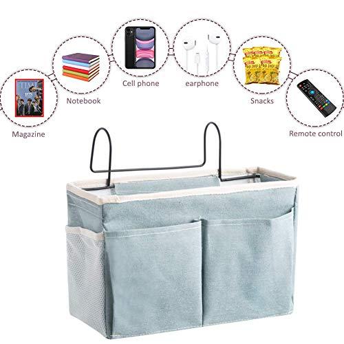 Frjjthchy 2 Pack Bedside Hanging Storage Bag Pocket with Hooks Multi-Function Organizer Caddy Headboards/Bunk Bed