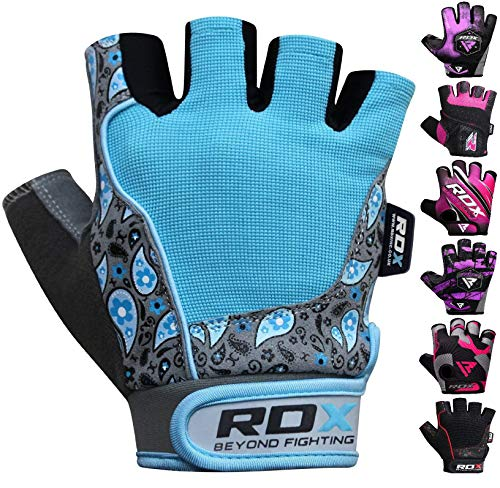RDX Gym Damen Gewichtheben Fitness Handschuhe, Blau, S