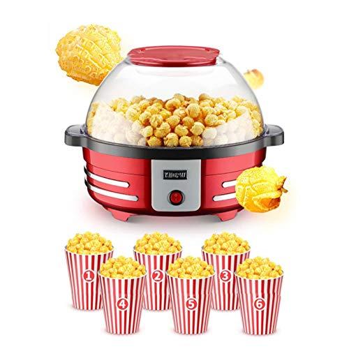 YMOMG Macchina per Popcorn, Macchina per Popcorn Elettrica per Popcorn Sani e Senza Grassi, Coperchio Rimovibile [Classe Energetica A +++]
