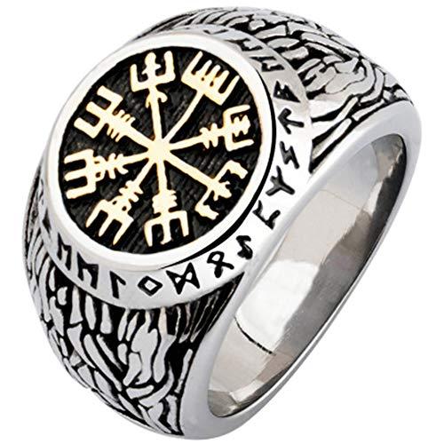 Anillo Nórdico De Acero Inoxidable 316L, Cuentas De Runas, Sello De Lobo Escandinavo, Símbolo De Odin, Joyería De Moda Para Hombres 12 Oro