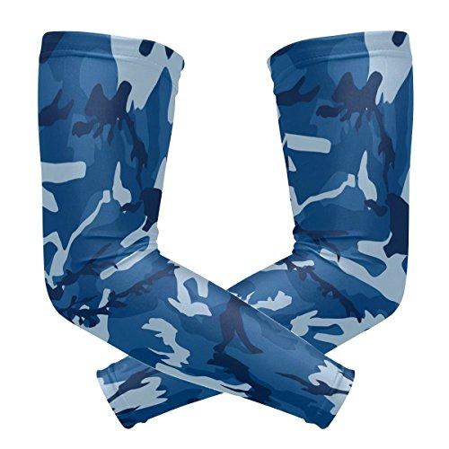FANTAZIO Armmanschette Ellenbogenschoner Militär Camouflage UV Sonnenschutz Polyester Kühlend Arm Ellenbogen Kompression Armstulpen Ärmel x1 Paar