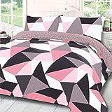 Dreamscene, set copripiumino reversibile con federe, motivo geometrico, colore rosa e grigio antracite, per letto singolo
