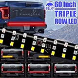 LED Tailgate Light Bar Triple Row, 60 Inch Tail Light Bar for Pickup Trailer SUV RV VAN, Red Brake White Reverse Amber Turn Signal Strobe Light with Standard 4-Pin Flat Connector, No Drill Install