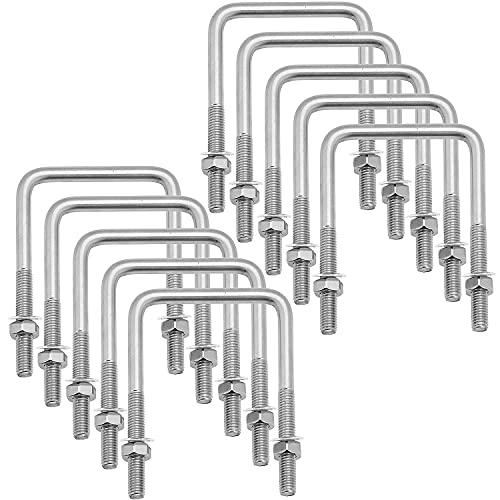 Unvtap 10 Stück M6 U Bolzen 80 x 50 mm U Bügel U Schelle 304 Edelstahl U Bügelschraube Dachträger Quadratische U Bolzen für Werkstatt Quadratische U Bolzen Verschluss für Rohr