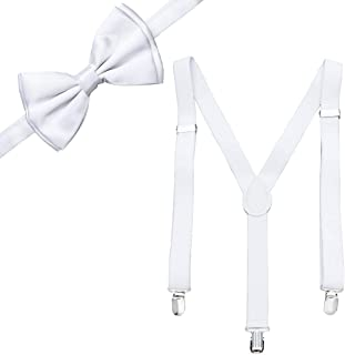 Men Adjustable Strong Clip Suspenders and Bow Tie Set Solid Color - Best Gifts for Wedding, Formal Events