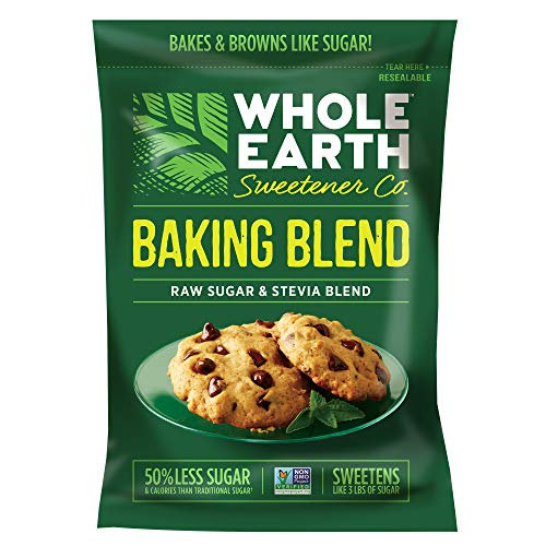 Whole Earth Sweetener Co. Baking Blend, Granular Raw Sugar and Stevia Baking Blend, Baking Sugar and Baking Stevia Mix, 1.5 Pound Pouch