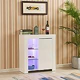 TUKAILAI - Aparador de armario con luces LED, color blanco brillante y mate, para comedor, sala de estar, cocina, oficina, 1 puerta