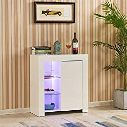 💗 4 basic colors for LED lights: blue, red, green and white -- Total adjustable colors are 16 colors. The sideboard with built-in LED lighting on the display shelf that not only create a beautiful and romantic ambience but also is the perfect setting...