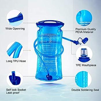 B-Earth Poche Hydratation, 3 L 2 L 1,5 L Grand réservoir d'eau à Ouverture de 3 litres, étanche à l'eau Militaire, Sac de Rangement pour vélo, randonnée, Camping, Cyclisme, Course à Pied (1,5L)