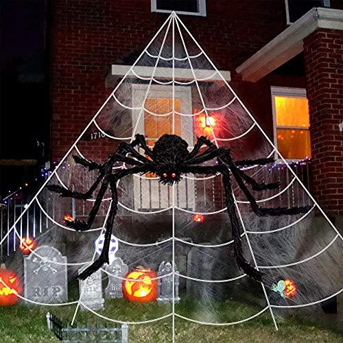 ChicFunhood Halloween Giant Spider Web 23 X 18 Feet with Super Stretch Cobweb Set,35″ Black Halloween Spider for Halloween Decorations Outdoor Yard Decor