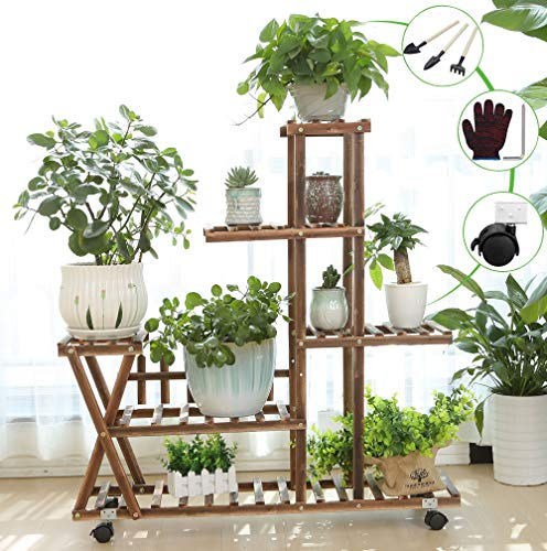 Wooden Plant Stand Shelf 5 Tier with Wheels Flower Pot Holder Display Multi-Shelvings Storage Rack for Plants Displaying Home Garden Patio Corner Outdoor Indoor (39.4inch-X3 Wheels)
