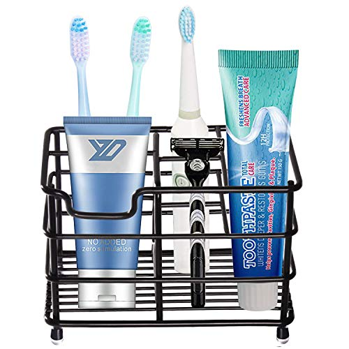HYRIXDIRECT Toothbrush Holder Black Plating Stainless Steel Rustproof Bathroom Electric Toothbrush Holder Toothpaste Storage Organizer Multi-Functional 6 Slots Stand for Vanity,Countertops (Black-01)