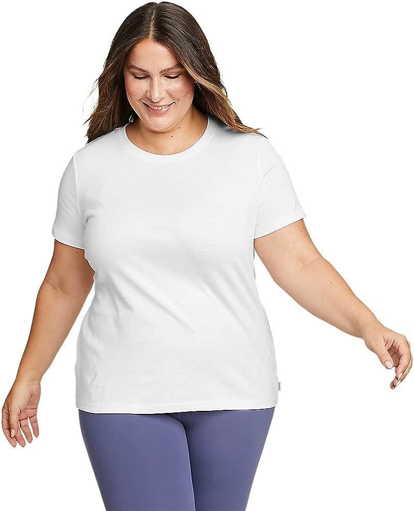 Eddie Bauer Women's Favorite Short-Sleeve Crewneck T-Shirt, White Plus 2X