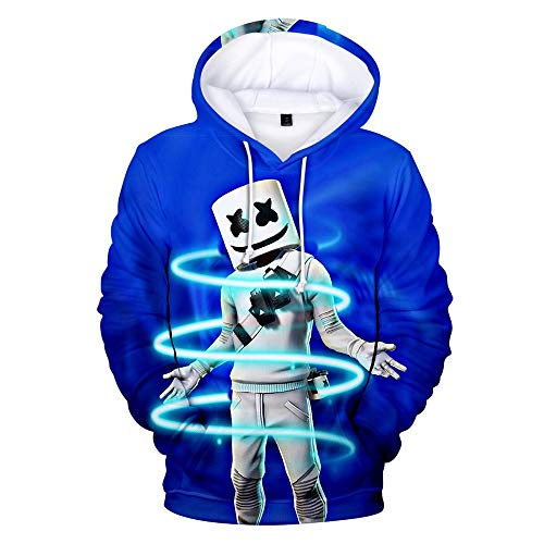 LVTIAN Jungen DJ MusikHoodie Smiley Face 3D-Druck Hoodies, Marshmello Fans Drucken Lässige Hip Hop Streat Mode Sweater mit Kapuze Jumpers (Color : 8, Size : M)