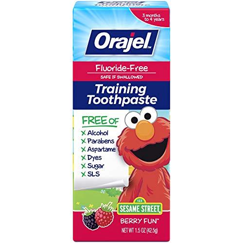 Orajel Elmo FluorideFree Training Toothpaste, Fun, One Tube: #1 Pediatrician Recommended Brand for Kids NonFluoride Toothpaste, Sesame, Berry, 1.5 Oz