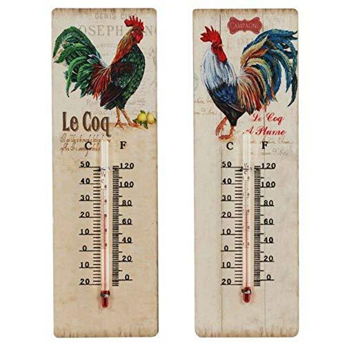 CAPRILO Set de 2 Termómetros Decorativos de Pared de Metal Gallos. Adornos para Jardín. Decoración Hogar. Regalos Originales. 25 x 8 x 1 cm.
