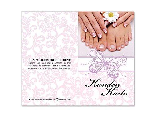 100 Stk. Kundenkarten für Fußpflege, Nagelstudio, Maniküre, Pediküre KS569