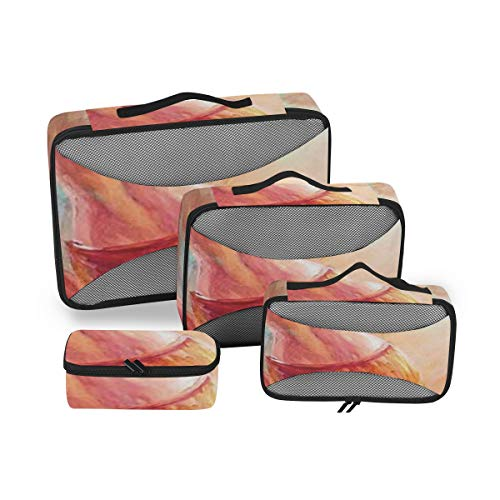 Country Decor 4pcs Large Travel Toiletry Bag for Women Big Wash Bags Hair Dryer Case Multi-Use Toiletries Kit Cosmetics Makeup Bathroom Organizer Suitcase Luggage