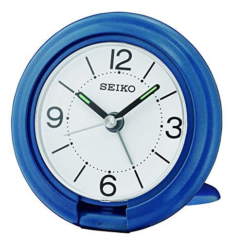 SEIKO Travel Alarm Clock, Plastic, Blue, 7.8 x 7.8 x 2.4