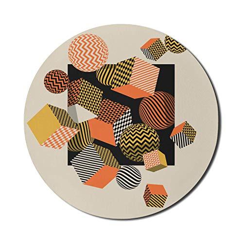 Retro-Mauspad für Computer, geometrische Kunstillustration in Würfeln und Kugeln im 60er-Jahre-Stil, rundes, rutschfestes, modernes Gaming-Mousepad aus dickem Gummi, 8 \'rund, beige mehrfarbig